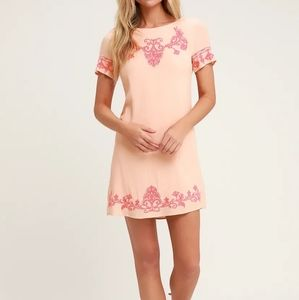 Light Coral and Pink Embroidered Shift Dress
